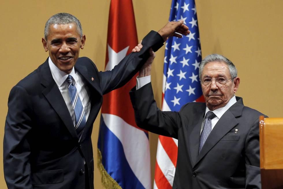 Barack Obama e Raúl Castro em Havana em março