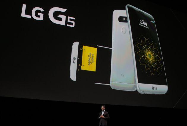 Juno Cho, presidente da LG, na apresentação do LG G5 no MWC de Barcelona.