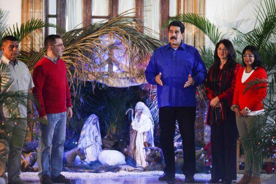 Nicolás Maduro durante sua mensagem de Natal.