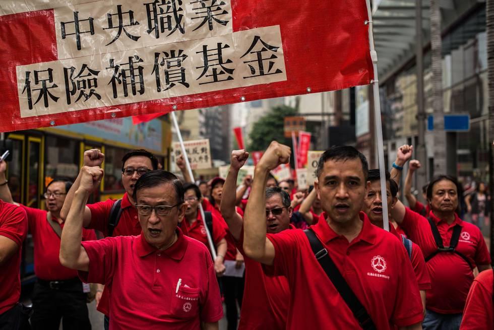 Manifestação pelo Dia do Trabalho em Hong Kong
