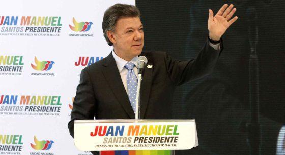 Santos em um ato de campanha em Bogotá nesta segunda-feira.