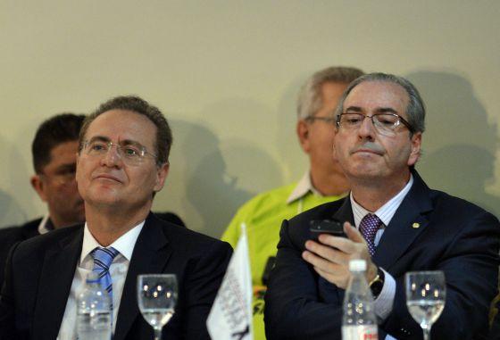 Calheiros e Cunha no evento do PMDB.