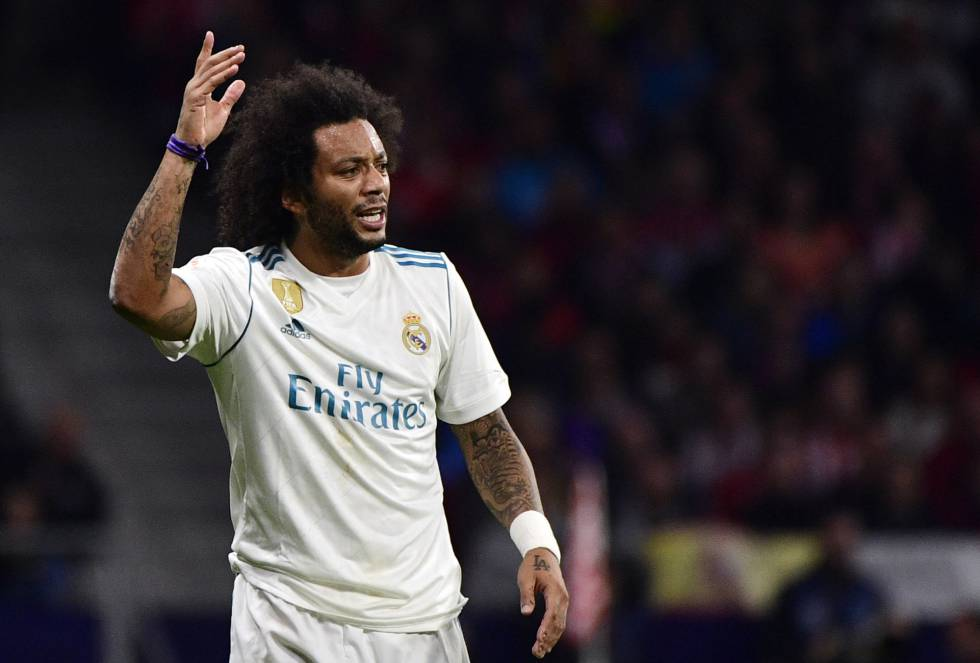 Marcelo, durante o jogo do Real Madrid contra o Atlético