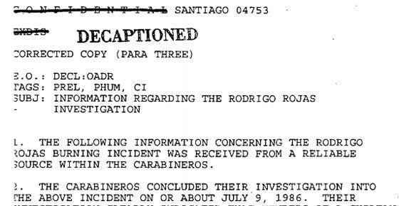 Documentos confidenciais sobre o caso de Rodrigo Rojas.
