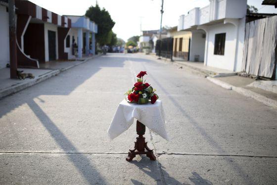 Homenaje em uma rua de Aracataca.