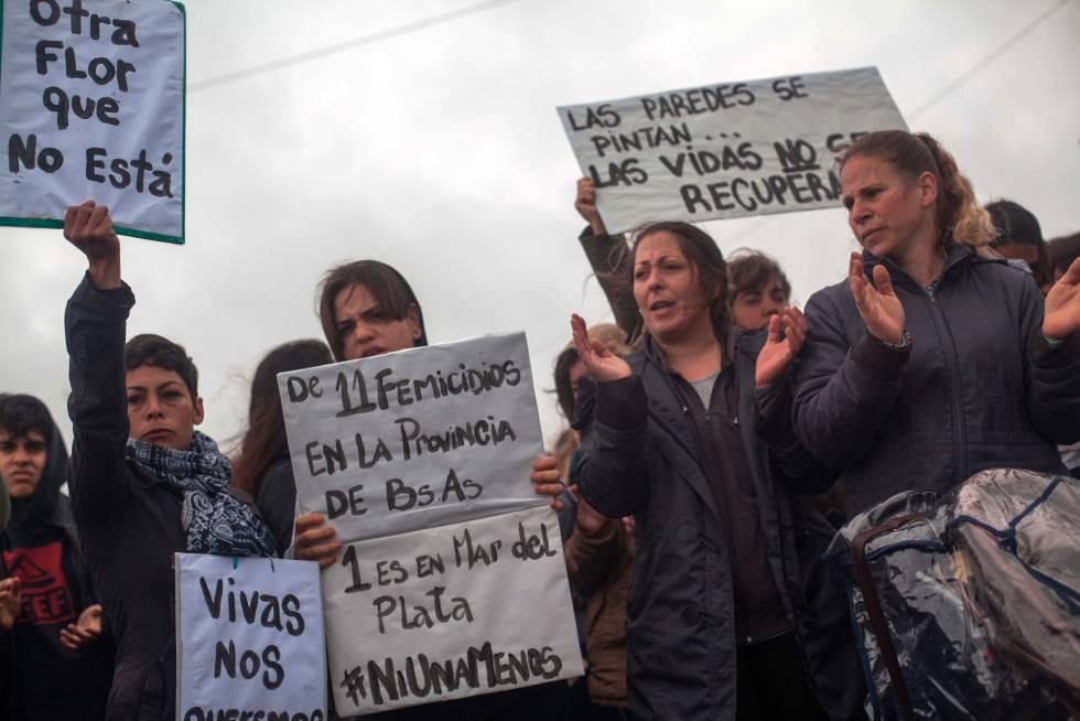 Protesto contra a violência machista em Mar del Plata no fim de semana passado.