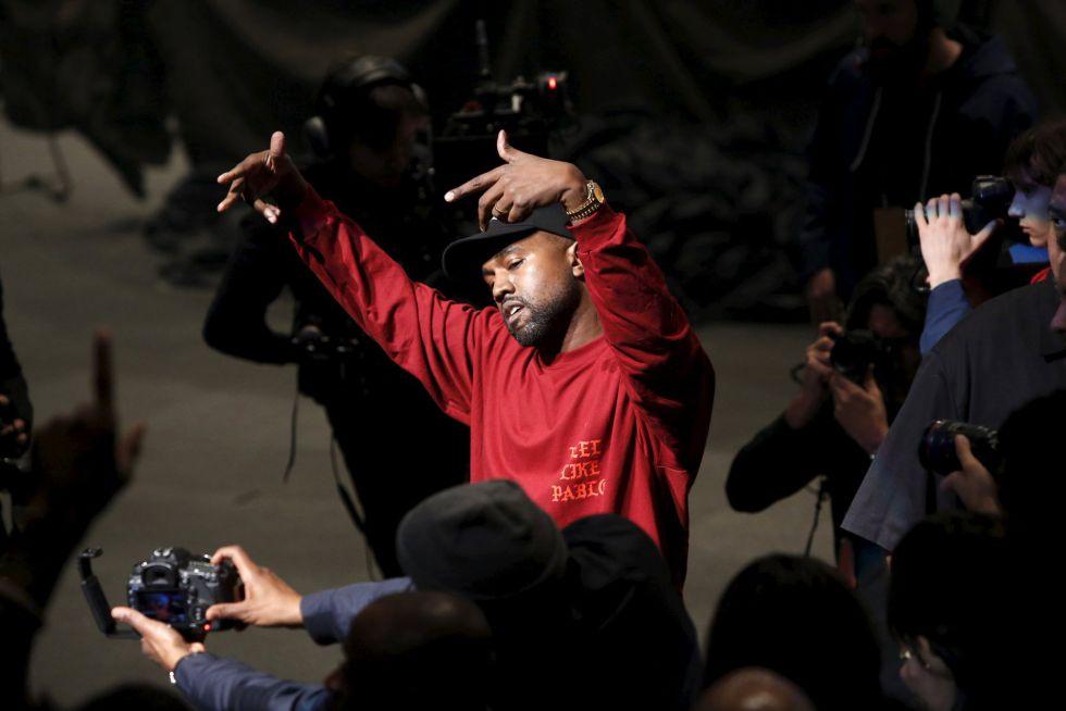Kanye West durante a apresentação de sua coleção e do álbum 'The Life of Pablo', no New York Fashion Week.