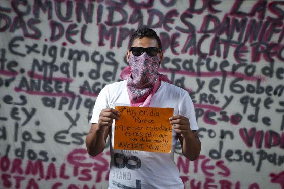 Um aluno da Escola Normal Rural de Ayotzinapa.