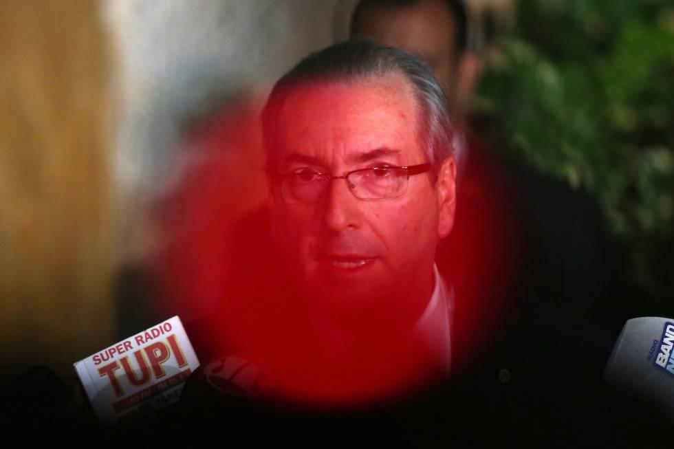 Eduardo Cunha durante entrevista no dia 5 de maio.
