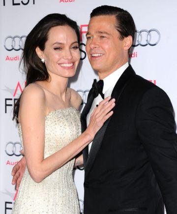 Angelina Jolie e Brad Pitt na apresentação de 'À Beira Mar'.