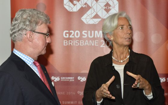 A diretora do FMI com o governador de Queensland (Austrália), onde vai acontecer a cúpula do G-20.