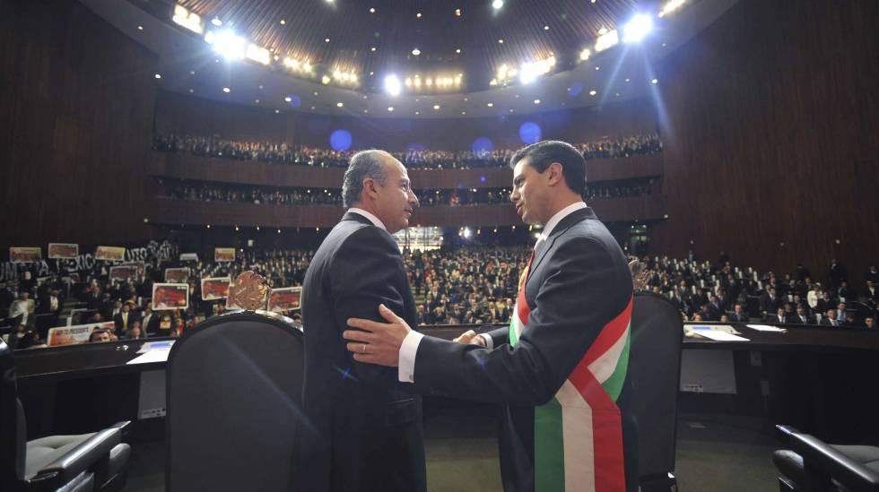 Calderón e Peña Nieto em 2012