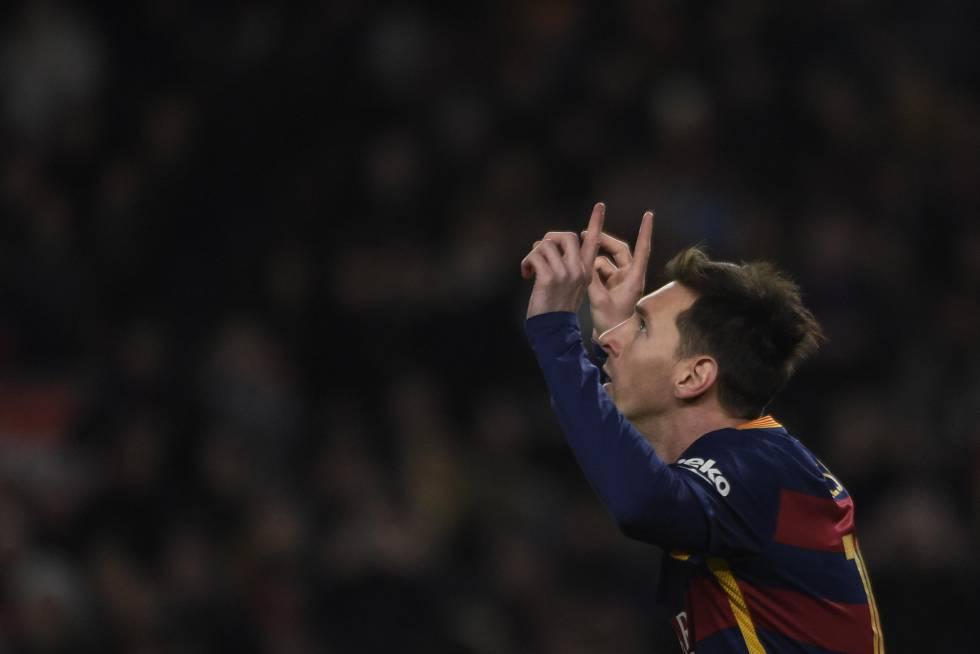 Messi celebra seu gol contra o Athletic.