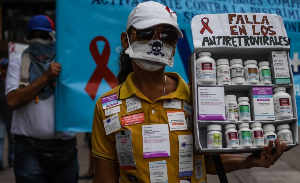 Manifestação por falta de antirretrovirais na Venezuela.