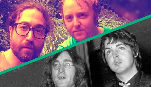 Sean Ono Lennon e James McCartney em uma foto atual (acima) e John Lennon e Paul McCartney em 1968 (abaixo).