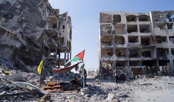 Edifícios destruídos por bombardeios em Gaza.