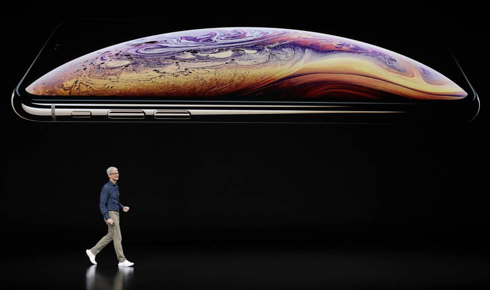 O conselheiro delegado de Apple, Tim Cook, na apresentação do novo iPhone nesta quarta-feira.