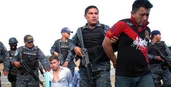Prisão de grupo criminoso em Tegucigalpa (Honduras).