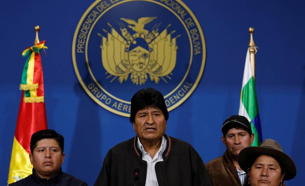 Evo Morales durante seu pronunciamento neste domingo em El Alto.