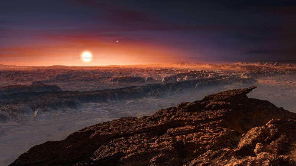 Recriação da superfície do planeta Próxima b e sua estrela Proxima Centauri.