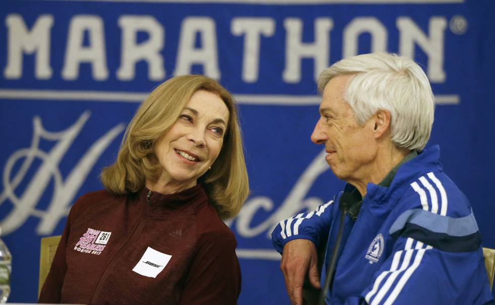 Kathrine Switzer com Ben Beach, em Boston.