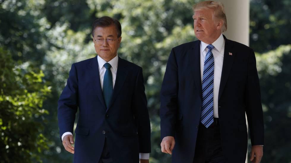Trump com o presidente da Coreia do Sul