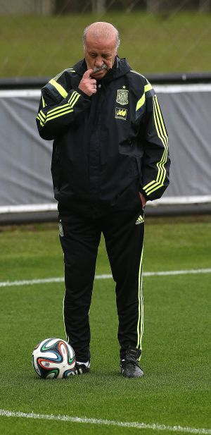 Vicente del Bosque, durante um treino em Curitiba.