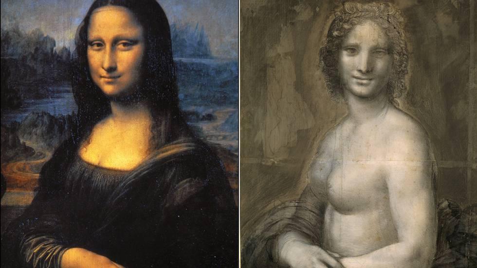 À esquerda, 'Mona Lisa'. À direita, o rascunho que o Louvre está estudando, intitulado 'Monna Vanna'.