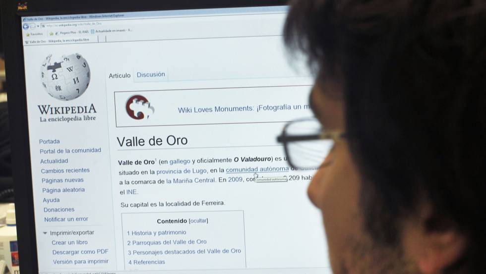 Um usuário de Wikipédia buscando informação.