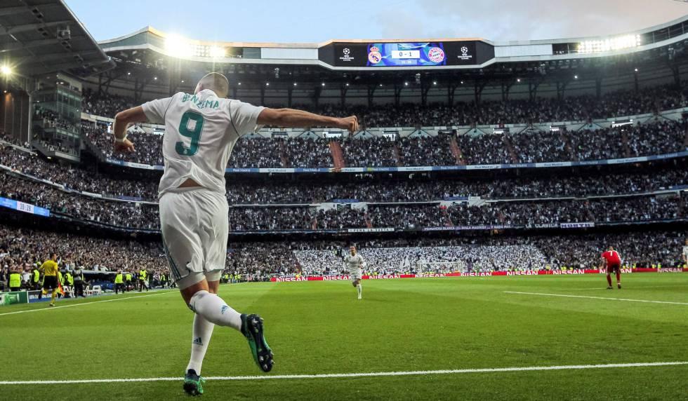 Benzema comemora seu primeiro gol contra o Bayern.