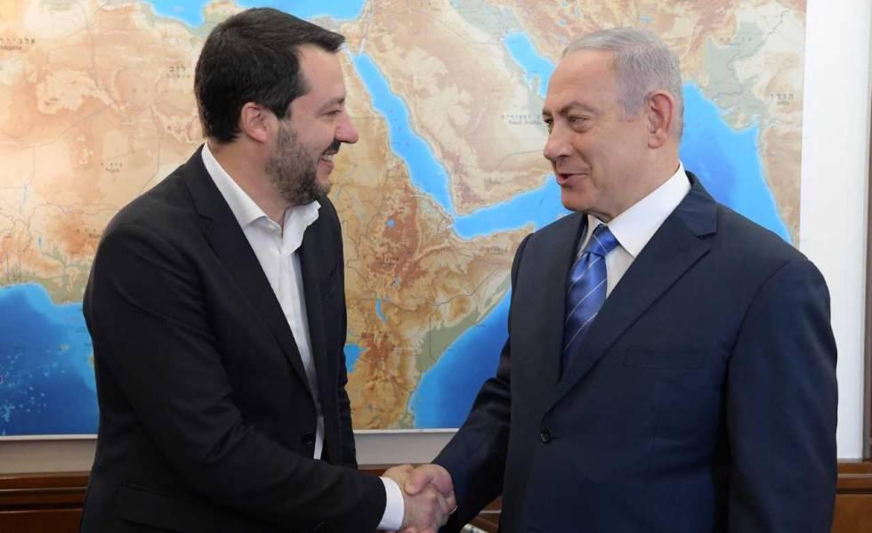 Salvini e Netanyahu nesta quarta-feira em Jerusalém.