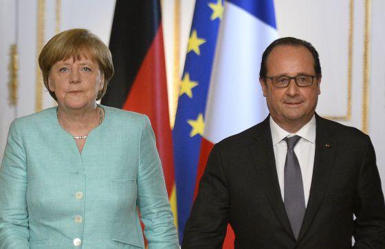 Merkel e Hollande nesta segunda-feira em Paris.