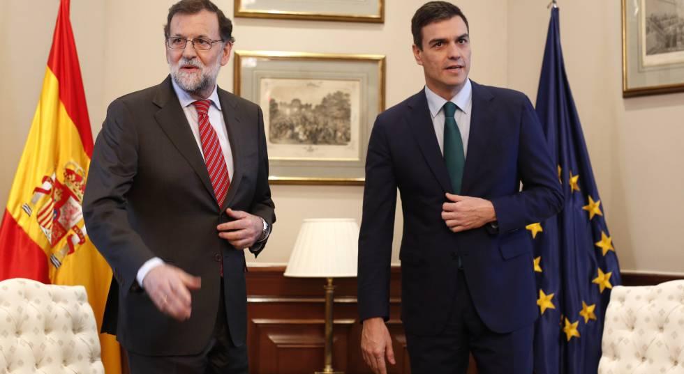 Mariano Rajoy, presidente em exercício, e Pedro Sánchez