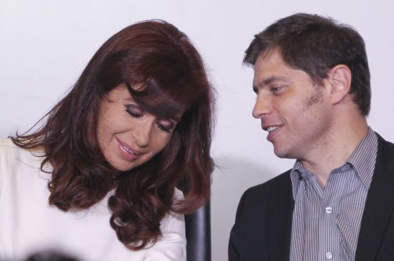 Cristina Kirchner e o seu ministro da Economia, Axel Kiciloff