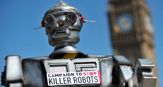 Campanha contra o uso de robôs na guerra, em Londres em 2013.