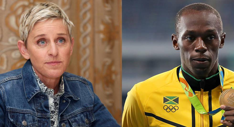 A apresentadora Ellen DeGeneres e o atleta Usain Bolt