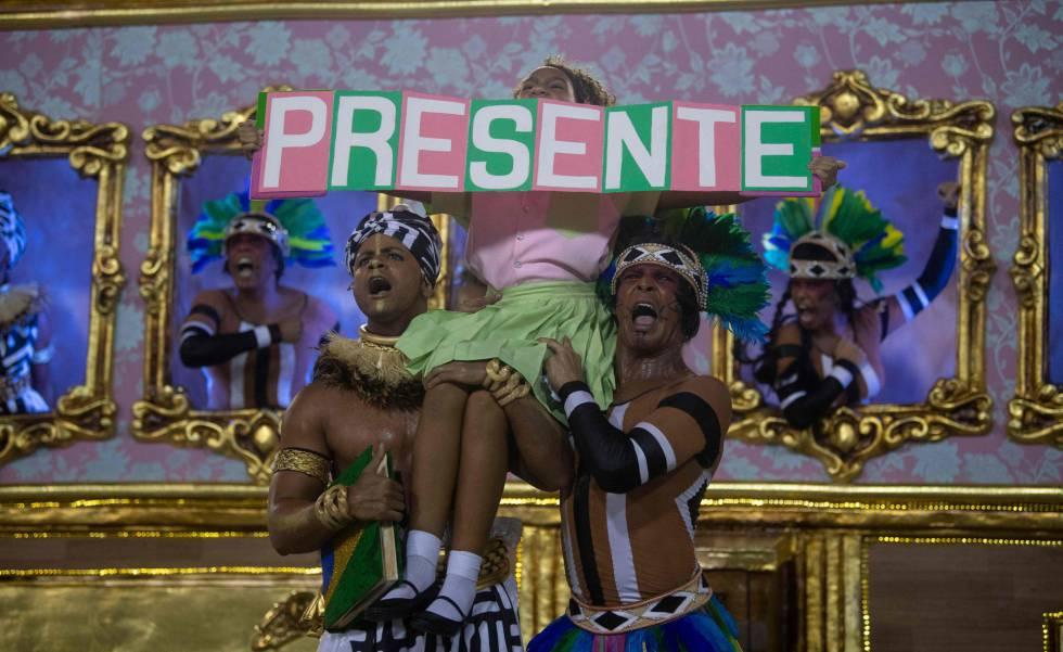 Trecho do desfile campeão da Mangueira, que homenageou a vereadora Marielle Franco.