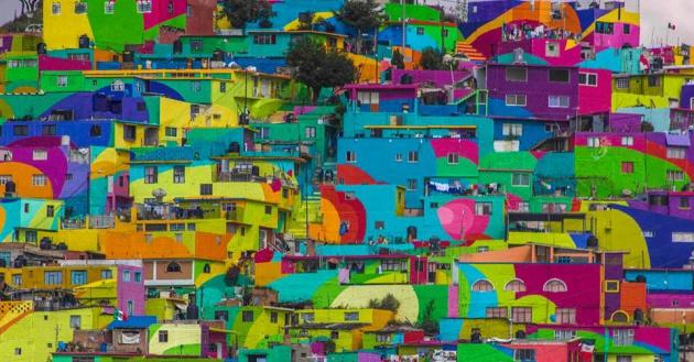 O macro mural de Las Palmitas, Pachuca. Cortesia de Germen Novo Muralismo