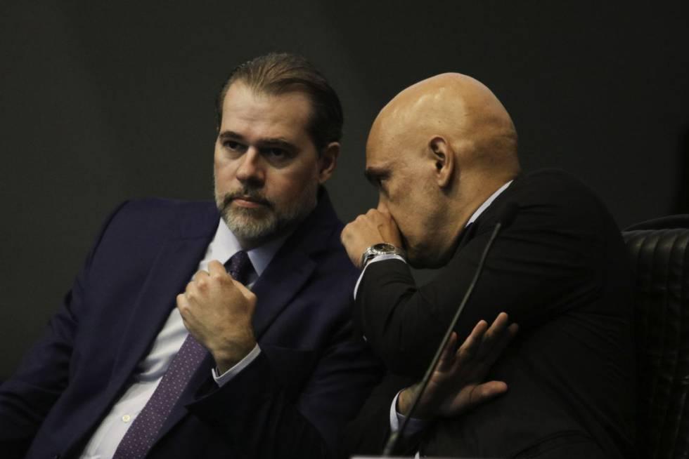 Dias Toffoli e Alexandre de Moraes, em fevereiro deste ano.