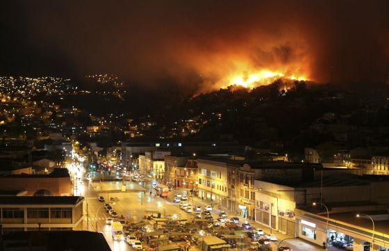 O fogo em Valparaíso.