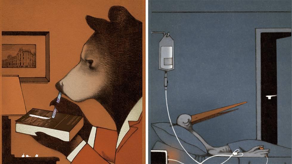 Ilustrações do livro 'Drogadictos'.