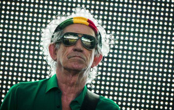 Keith Richard em um show dos Rolling Stones em Berlim, em 2014.