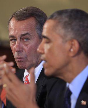 O porta-voz do Congresso dos EUA, o republicano John Boehner, com Obama em novembro.