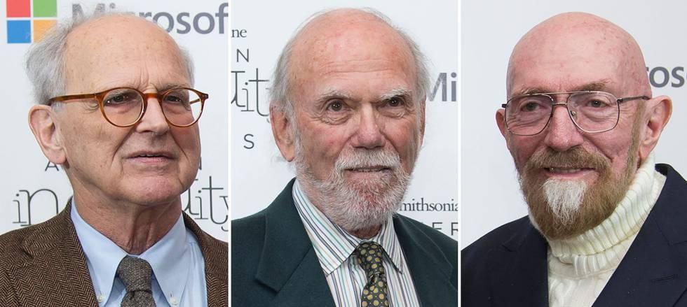 Da esquerda para a direita, Rainer Weiss, Barry Barish e Kip Thorne.