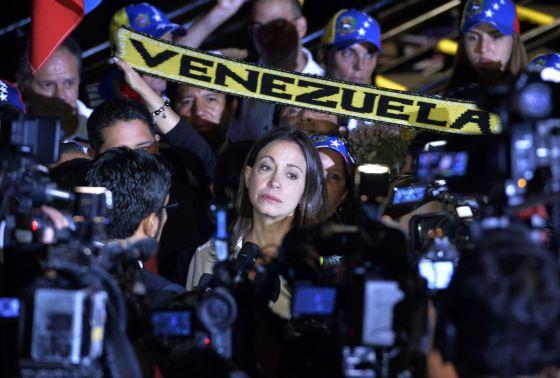 María Corina Machado, nesta segunda-feira em Lima.