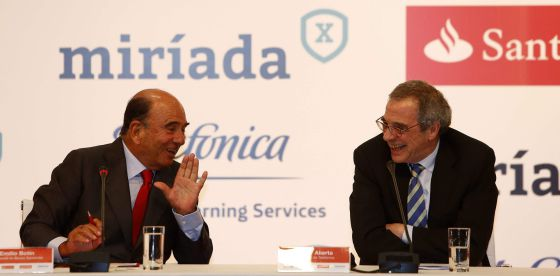 Emilo Botín e César Alierta, no Rio de Janeiro