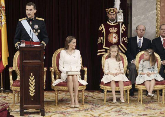 Felipe VI, a princesa das Astúrias e as infantas.