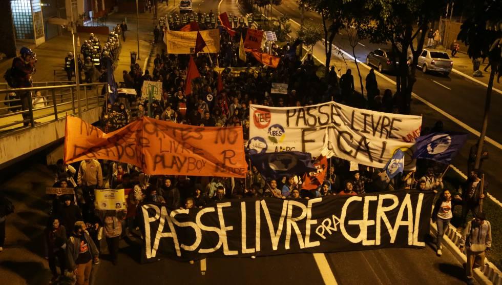Ato pelo Passe Livre estudantil em São Paulo no último dia 18.