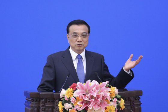 O primeiro-ministro chinês, Li Keqiang, durante um pronunciamento.