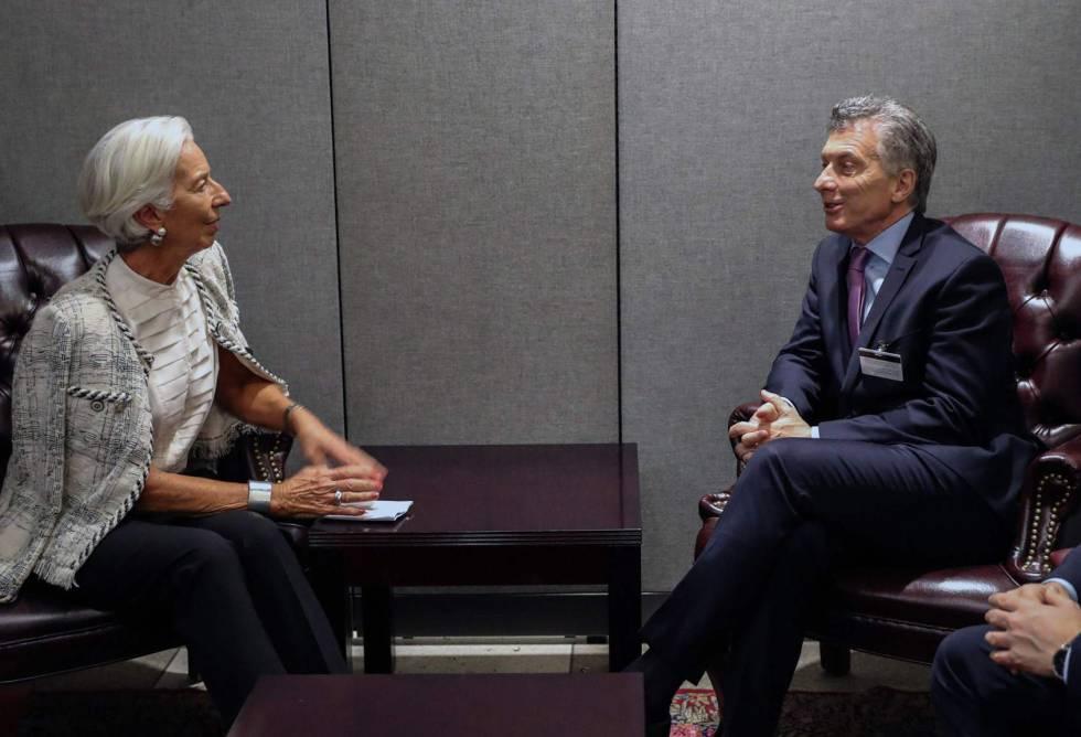A diretora-gerente do FMI, Christine Lagarde, recebeu o presidente da Argentina, Mauricio Macri, na terça-feira em Nova York.
